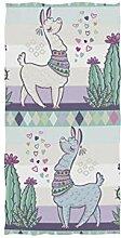 linomo Handtuch Süß Alpaka Lama Lächeln