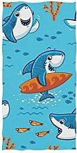 linomo Handtuch Süß Hai Muster Handtuch