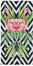 linomo Handtuch Tropisch Flamingo Blätter