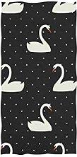 linomo Handtuch Weiß Schwan Polka Dots Handtuch