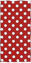 linomo Handtuch Weiß Tupfen Rot Handtuch