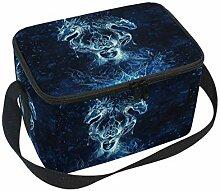 linomo Lunch Tasche Galaxis Weltraum Feuer Drachen
