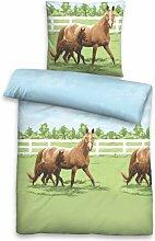 Linon-Bettwäsche Pferde biberna Größe: 155 x