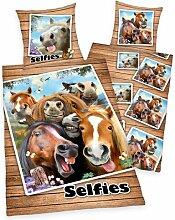 Linon-Kinderbettwäsche Selfies Pferde Herding