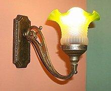 linoows Art Deco Wandlampe, Messing massiv und