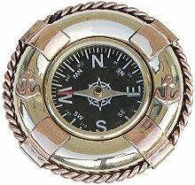 linoows Maritimer Tischkompass im Rettungsring, Kompass aus Kupfer und Messing