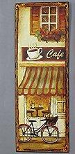 linoows Nostalgie Blechschild, Cafe mit Fahrrad,