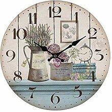 linoows Romantische Landhaus Wanduhr mit Lavendel