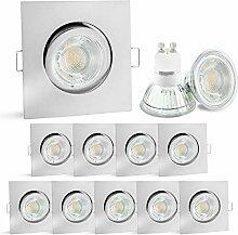 linovum® 10er Set LED Einbaustrahler GU10 eckig &