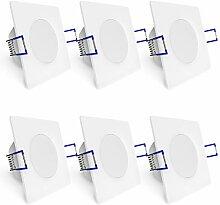 linovum 6er Set quadratische Deckenspots mit 3,5W