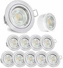 linovum® Einbaustrahler LED 10er Set flach 36mm -