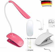 LinQ® Leselampe Tragbare LED Klemmleuchte Schreibtisch Lampe, Folding USB Leselicht360 Grad mit Clip Schwanenhals 26 LED 3W Flexibel Faltbare Tischlampe Licht, L161, Rosa