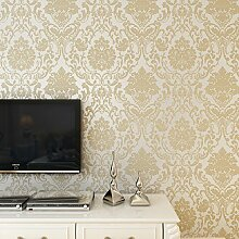 LINQZ Europ?ische Vliestapete 3D Damaskus Teppichboden Tapete Schlafzimmer/Wohnzimmer TV, Film und Fernsehen Hintergrundbild,Standard Edition gold,Nur die Tapete