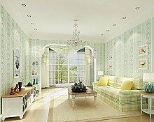 LINQZ Schlafzimmer Wohnzimmer 3D Pr?zision Vliestapete einfache moderne Streifen einfarbige Wand Stiltapeten,Hellgr¨¹n,Nur die Tapete