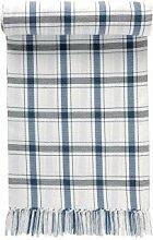 LINUM Plaid WAGON C42 creme mit blauem Karo 130cm x 170cm 100% Baumwolle, Wohn- und Kuscheldecke, Baumwollplaid, Tischdecke, Wohntextilien
