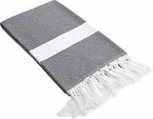 """Linum Wohntextilien aus 100% Türkische Baumwolle Diamant Weave Pestemal, grau, 39""""x 64"""