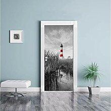 LINXIJH 3D Selbstklebende Tür Wandbilder Bush