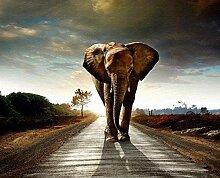 LINXIJH 5D Runde Diamant Malerei Elefant