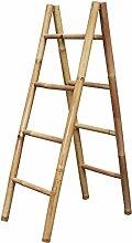 LioLiving®, Handtuchhalter / Dekoleiter aus Bambus (natur / doppelt) - (50 x 78 x 150 cm) (#400151)