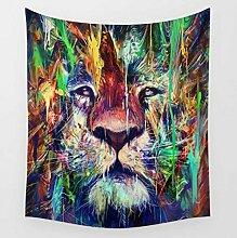 Lion Birds Eye Floral Astronauten Wandteppiche Bunte psychedelische indische Tapisserie Wandbehang gedruckt Dekoration , 001