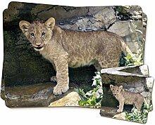 Lion Cub Zwillings Platzdeckchen und Untersetzer