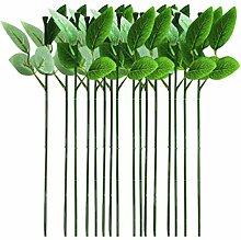 LIOOBO 30Pcs Blumendraht Stamm mit Blättern