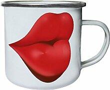 Lips Retro, Zinn, Emaille 10oz/280ml Becher Tasse