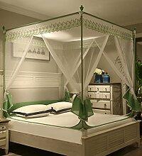 LIQICAI 3 Türen für Moskitonetz Insect Bug Protection Bettüberdachung Dick Dichtes Netz, 2 m Höhe, Mehrfarbig Optional (Farbe : Grün, größe : 1.8x2m)