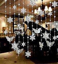 LIQICAI Türvorhang Schneeflocke Perlen Vorhang