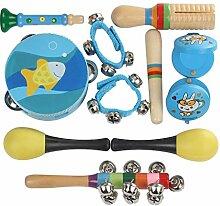 Liqiqi Musikinstrumente Kinder Set 11 Stück Holz