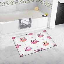 LIS HOME Pink Owl Girls Badematte und