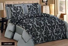 LISA 3-teiliges Damast Flock Gesteppte Tagesdecke Tröster Bett–Double & King Size (mit kostenlosen passende Kissenbezüge), 100% Polyester, grau, King Size