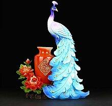 LISA Chinesische Vase, Vintage Keramik Vasen, Pfau