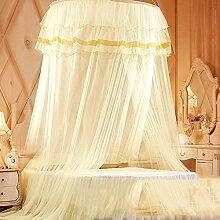 LISABOBO Kuppeldach spitze Moskitonetz Himmelbett, Halterung rundes Bett auf dem Boden stehende Saugnapf Moskito Vorhang-B Queen 1.