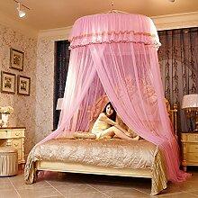 LISABOBO Kuppeldach spitze Moskitonetz Himmelbett, Halterung rundes Bett auf dem Boden stehende Saugnapf Moskito Vorhang - E 180 x 220 cm (71 x 87 Zoll)