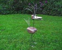Liselotte stehend Gartenfigur und Gartendeko als Steinvogel aus Edelstahl und Stein Größe L ca 70 cm hoch Design Tiedemann