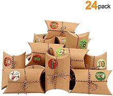 LISOPO 24 Adventskalender Kraftpapier Tüten mit