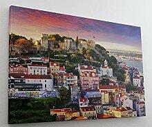 Lissabon City Skyline Leinwand Canvas Bild