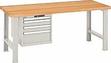 LISTA Werkbank, 2 Füße, 1 Schubladenblock, 4