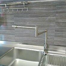 LIsui_Sus304 Küchenarmatur Edelstahl Wasserhahn Küche Wasserhahn Waschbecken mit warmen und kalten Gerichten falten Bleifrei
