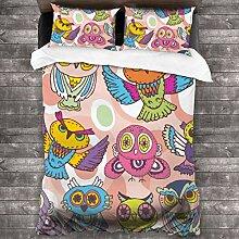LISUMAL Bedding Bettwäsche,Skizzieren Sie Eulen