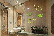 LiTie 3d's Fish Kinder Zimmer Acryl crystal stereo Spiegel Wandhalterung wasserdicht Badezimmer Wand Spiegel auf Kreativität, rot, klein