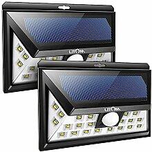 Litom 24 LED Solar Außenleuchte, 120°Weitwinkel, Bewegungmelder Sensor, 2 stücke