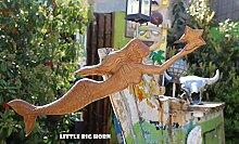 Little Big Horn Dekoration Meerjungfrau Holz Skulptur, Statue Holz Deko Wohnung - Garten - Dekoration