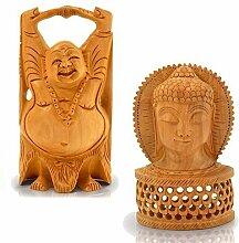 Little Indien Combo der Holz Buddha Statue und