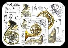Little Schnarchen Cards & Gifts Tisch-Sets und Untersetzer French Horn, mehrfarbig