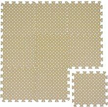 LittleTom Puzzlematte Beige gepunktet Polka-Muster Spielmatte Spielteppich Schaumstoff Puzzle Kinderteppich