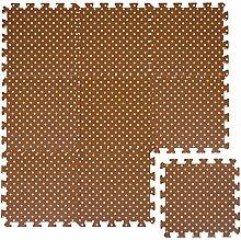 LittleTom Puzzlematte Braun gepunktet Polka-Muster Spielmatte Spielteppich Schaumstoff Puzzle Kinderteppich
