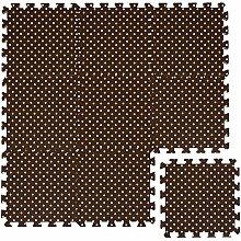 LittleTom Puzzlematte Dunkelbraun gepunktet Polka-Muster Spielmatte Spielteppich Schaumstoff Puzzle Kinderteppich