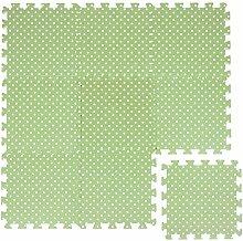 LittleTom Puzzlematte Grün gepunktet Polka-Muster Spielmatte Spielteppich Schaumstoff Puzzle Kinderteppich